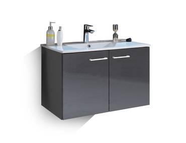 SLOT Waschtisch inkl. Becken mit zwei Türen grau