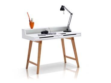 TAMY Schreibtisch matt weiß lack./Beine buchefarbig