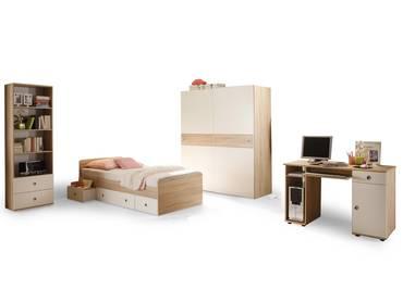 TINA Jugendzimmer Sonoma Eiche/weiß mit Schwebetürenschra
