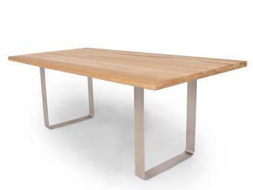 orleans massivholztisch s ulentisch fu aus edelstahl. Black Bedroom Furniture Sets. Home Design Ideas
