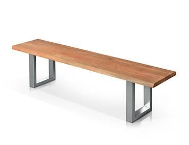 TOBAGO Sitzbank Wildeiche / Fuß Edelstahlfarbig lackiert 180 cm