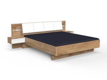 VALESSA Doppelbett, Material Dekorspanplatte, plankeneichefarbig/weiss