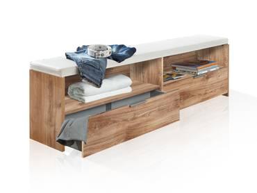 VALESSA Bettbank mit Polster, Material Dekorspanplatte,  plankeneichefarbig/weiss