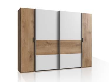 VALESSA Kleiderschrank, Material Dekorspanplatte, plankeneichefarbig/weiss