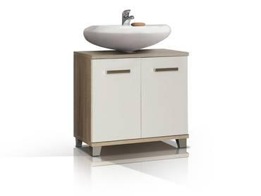 VENETA Waschbeckenunterschrank Eiche Nachbildung MDF /weiss Hochglanz