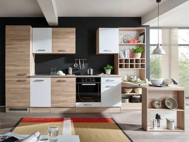 VINO Komplett-Küche Dekor Eiche Sonoma/weiß inkl. Regal