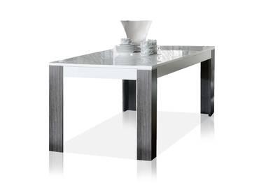 WANDA Esstisch 160x90 cm weiß/Eiche grau