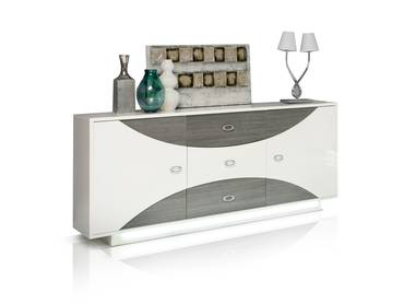 WANDA Sideboard weiß/Eiche grau