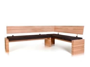 WOOD Eckbank mit Massivholzgestell 190 x 150 cm | rechts | Eiche bianco | braun