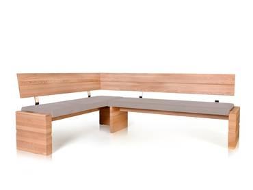 WOOD Eckbank mit Massivholzgestell 190 x 150 cm   links   Eiche bianco   taupe