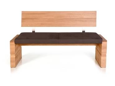 WOOD Sitzbank mit Rücken und massivem Gestell 150 cm | Eiche bianco | braun