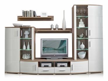 yanni sideboard eiche sonoma dunkel wei hochglanz. Black Bedroom Furniture Sets. Home Design Ideas