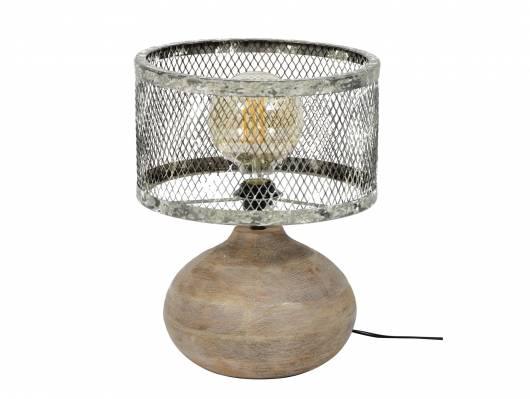 GREMI Tischlampe klein Gitterschirm mit Holzfuß