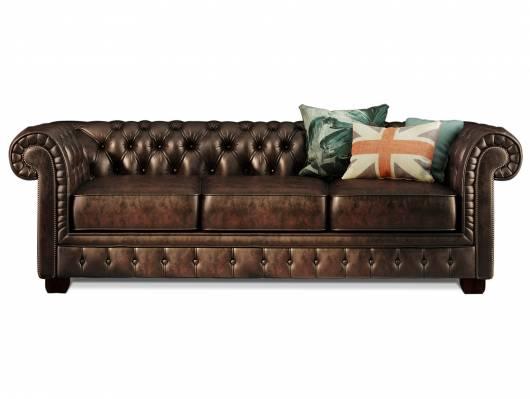 CHESTERFIELD Echtleder 3-Sitzer Sofa BRADFORD, antikbraun