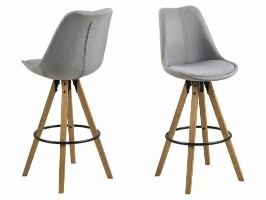 DALLAS Barhocker, Material Kunststoff/Massivholz, Gestell eichefarbig