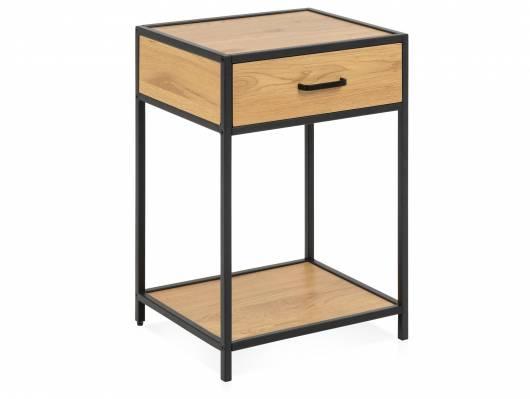 SYDNEY Nachttisch mit 1 Schubkasten, Material MDF, schwarz/wildeichefarbig