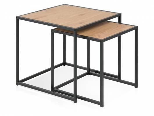 SYDNEY 2-Satz-Tisch, Material MDF, schwarz/wildeichefarbig