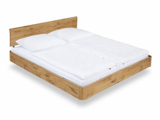 SHERY Doppelbett / Schwebebett, Material Massivholz, 180x200 cm Wildeiche geölt