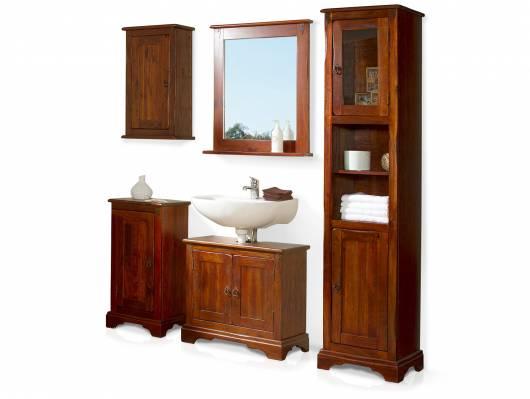 CESI 5-teiliges Badezimmerset, Material Massivholz, Pinie braun lackiert