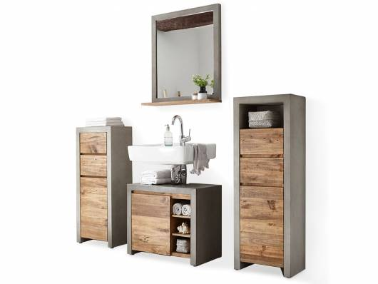 GLAY Badezimmerset I, Material Massivholz, Beton/Pinie