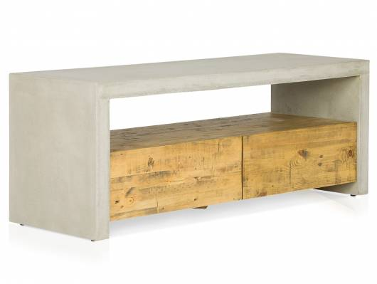 GLAY TV-Bank, Material Massivholz, Pinie/Beton