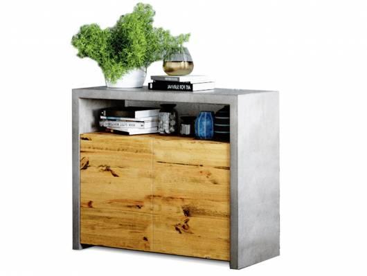 GLAY Kommode, Material Massivholz, Pinie/Beton