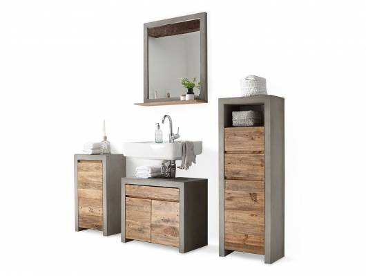 GLAY Badezimmerset II, Material Massivholz, Beton/Pinie