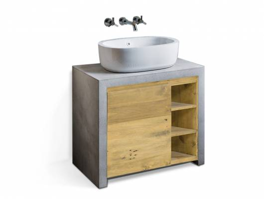 GLAY Waschbeckenunterschrank I, Material Massivholz, Beton/Pinie