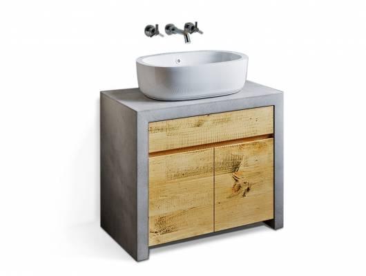 GLAY Waschbeckenunterschrank II, Material Massivholz, Beton/Pinie