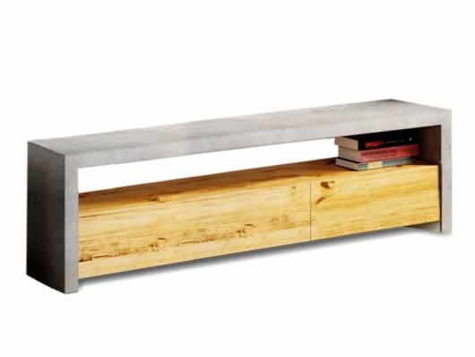 GLAY TV-Bank groß, Material Massivholz, Pinie/Beton