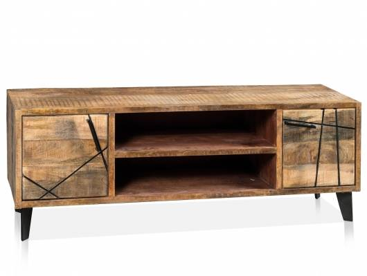 CORTEZ TV-Board, 2 Türen, 2 offene Fächer, Material Massivholz, Mango