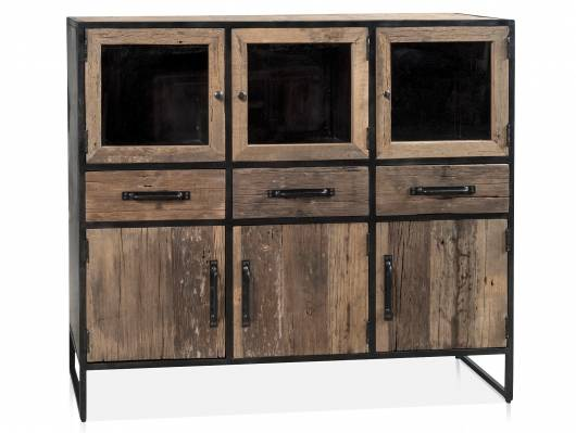 STIPO Highboard, Material Altholz/Metall schwarz