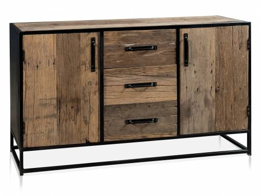 STIPO Sideboard, Material Altholz, Metall, Schwarz