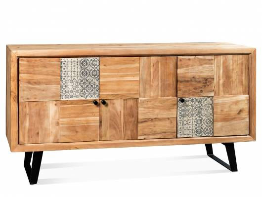 DARBY Sideboard, Material Massivholz/Metall schwarz