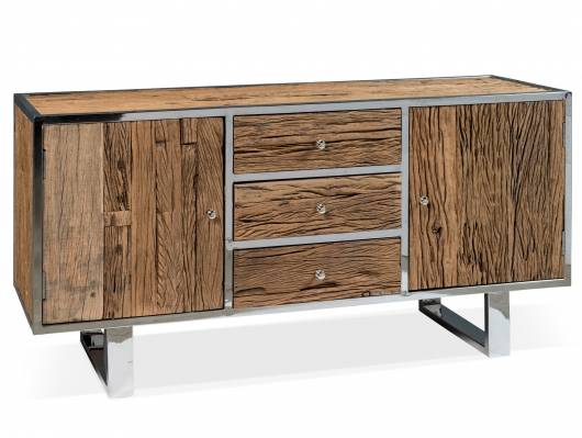 MEGAN Sideboard, Material Altholz/Metall alufarbig