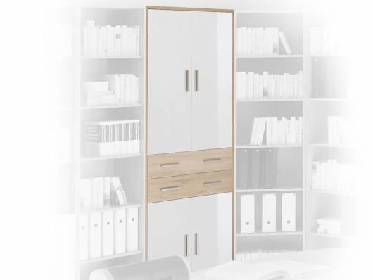 OFFICE LINE Schrank 4 Türen + 2 Schubkästen, Material Dekorspanplatte, Eiche sonomafarbig/weiss