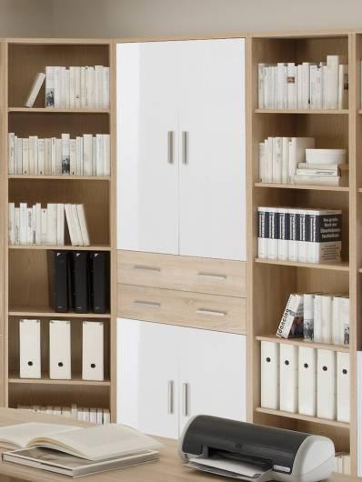 Büroschrank weiß mit türen  OFFICE LINE Schrank 4 Türen + 2 SK Eiche Sonoma/weiß