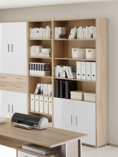 Büroschrank weiß mit türen  OFFICE LINE Schrank 2 Türen Eiche Sonoma/weiß