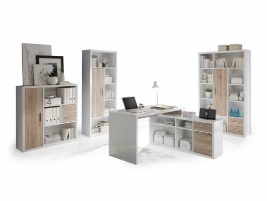 TOKIO Komplett Büro, Material Dekorspanplatte,  weiss/Eiche sanremofarbig
