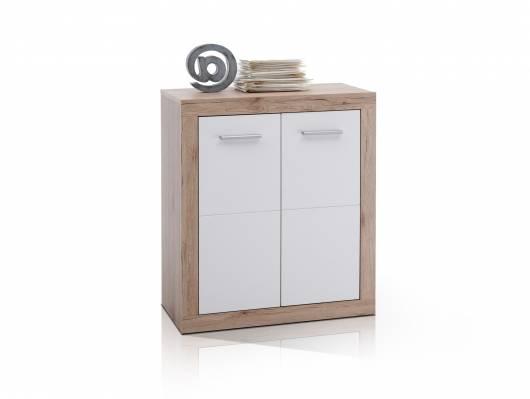 CHESTER Kommode B5 2 Türen, Material Dekorspanplatte, Eiche sanremofarbig/weiss