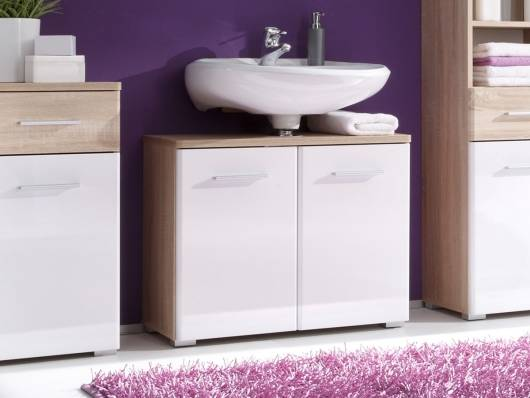 BORALO Waschbeckenunterschrank weiss/Sonoma Nachbildung MDF