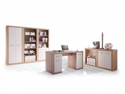 CHESTER II Komplett-Büro, Material Dekorspanplatte, Eiche sanremofarbig/weiss