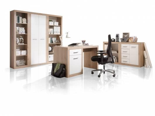 CHESTER III Komplett-Büro, Material Dekorspanplatte, Eiche sanremofarbig/weiss