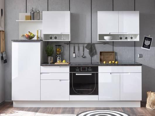 SANDRA Küchenblock, Material Dekorspanplatte, weiss Hochglanz