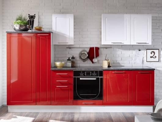SOFIE Küchenblock, Material Dekorspanplatte, rot/weiss