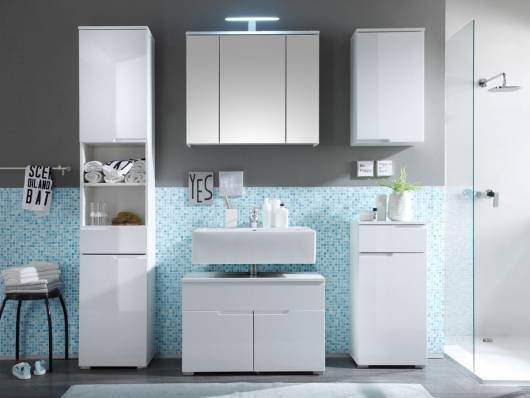 SANDRA Badezimmer-Set 5tlg, Material MDF, weiss Hochglanz