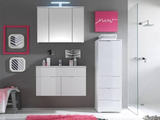 SANDRA Badezimmer-Set 3tlg, Material MDF, weiss Hochglanz