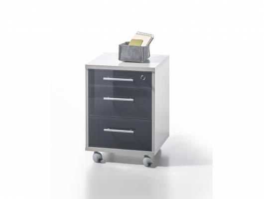 OFFICE DELUXE Rollcontainer, Material Dekorspanplatte/Glas, grau/graphit lackiert