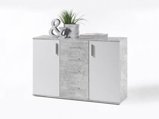 BANJO V Kommode, Material Dekorspanplatte, betongrau/weiss