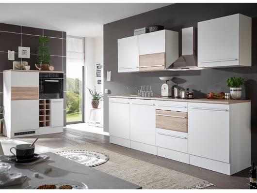 BARY Küche, Material Dekorspanplatte, weiss matt/Eiche sonomafarbig